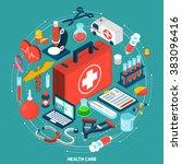 healthcare concept isometric... | Shutterstock . vector #383096416