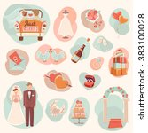 wedding concept flat icons set | Shutterstock . vector #383100028