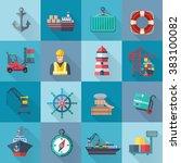 sea port icons set | Shutterstock . vector #383100082