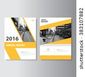yellow annual report leaflet... | Shutterstock .eps vector #383107882