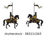 silhouettes of two knights   Shutterstock .eps vector #383111365