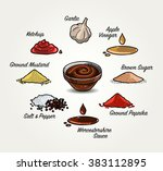 barbecue sauce recipe | Shutterstock .eps vector #383112895