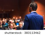 public speaker giving talk at... | Shutterstock . vector #383113462
