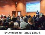 public speaker giving talk at... | Shutterstock . vector #383113576