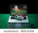 green table with casino chips... | Shutterstock . vector #383116546