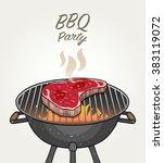 bbq party   grill steak | Shutterstock .eps vector #383119072