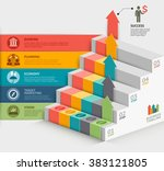 3d business staircase diagram... | Shutterstock .eps vector #383121805