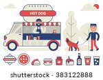 Food Truck Sell Hot Dog In The...