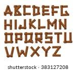 old grunge wooden alphabet set | Shutterstock .eps vector #383127208