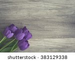 bunch of purple tulips on... | Shutterstock . vector #383129338