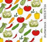 hand drawn vegetables seamless... | Shutterstock .eps vector #383137516