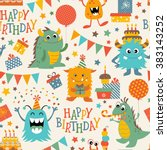 birthday pattern with cute... | Shutterstock .eps vector #383143252