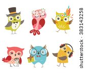 Stock vector set of cute owls isolated on white background 383143258