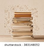a pile of books on table with... | Shutterstock . vector #383148052