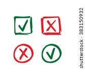 set of hand drawn check mark... | Shutterstock . vector #383150932
