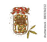 cute home made green olives jar | Shutterstock .eps vector #383156212