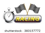racing with checkered flag and... | Shutterstock .eps vector #383157772