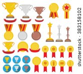 set of trophies  medals  icons... | Shutterstock .eps vector #383158102