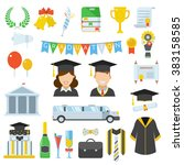 graduation day vector icon set... | Shutterstock .eps vector #383158585