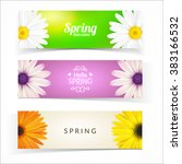bright spring banners design.... | Shutterstock .eps vector #383166532