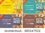 flat style pizza menu concept... | Shutterstock .eps vector #383167522