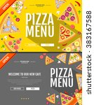 flat style pizza menu concept... | Shutterstock .eps vector #383167588