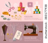 seamstress and tailor banners... | Shutterstock .eps vector #383177938