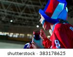 shouting sports fans in stadium | Shutterstock . vector #383178625