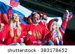 happy sports fans in stadium | Shutterstock . vector #383178652