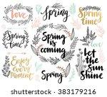 spring lettering set   hand... | Shutterstock .eps vector #383179216