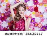 portrait of fashion beautiful... | Shutterstock . vector #383181982
