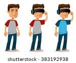 cartoon guy using virtual...   Shutterstock .eps vector #383192938