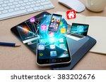 modern mobile phone in office... | Shutterstock . vector #383202676