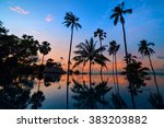 tall coconut palm trees at... | Shutterstock . vector #383203882