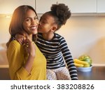 black mom and daughter loving... | Shutterstock . vector #383208826