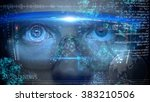 futuristic monitor on face with ... | Shutterstock . vector #383210506