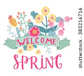 welcome spring card. cute ...   Shutterstock .eps vector #383216716
