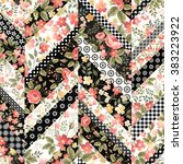 seamless floral patchwork... | Shutterstock .eps vector #383223922