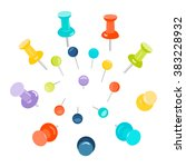 set of colored push pins on... | Shutterstock .eps vector #383228932