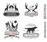 set of hunting labels. | Shutterstock .eps vector #383229016