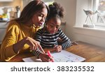 little black girl learning to... | Shutterstock . vector #383235532