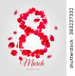 greeting card with red rose... | Shutterstock .eps vector #383237332