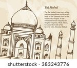 taj mahal vector banner with... | Shutterstock .eps vector #383243776