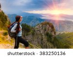 woman traveler with backpack... | Shutterstock . vector #383250136