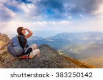 woman traveler with backpack... | Shutterstock . vector #383250142