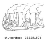 industrial sketch of nuclear... | Shutterstock . vector #383251576
