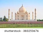 taj mahal in agra  uttar... | Shutterstock . vector #383253676