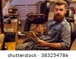 handsome young bearded man... | Shutterstock . vector #383254786