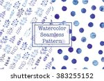 set of two watercolor seamless... | Shutterstock .eps vector #383255152