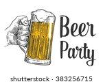 male hand holding a beer mug. ... | Shutterstock .eps vector #383256715